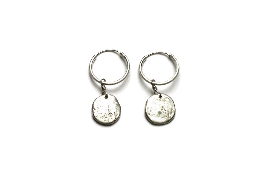 medium silver disc hoop earrings   $60.00   item 03-004