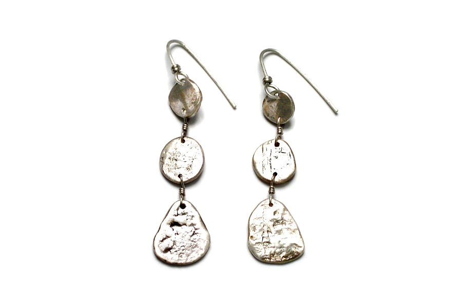 3 silver disc earrings   $120.00   item 03-006