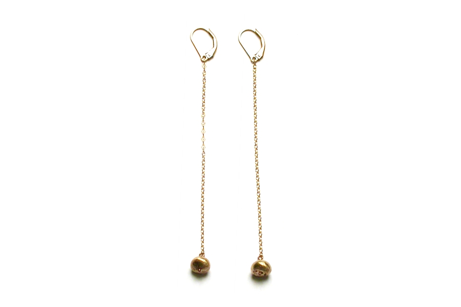 gold nugget on gold chain earrings   $195.00   item 03-021