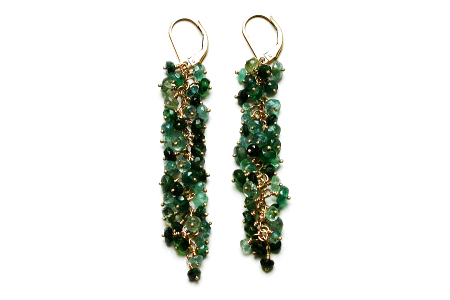 emerald & apatite extra-long cluster earrings   $295.00   item 03-068