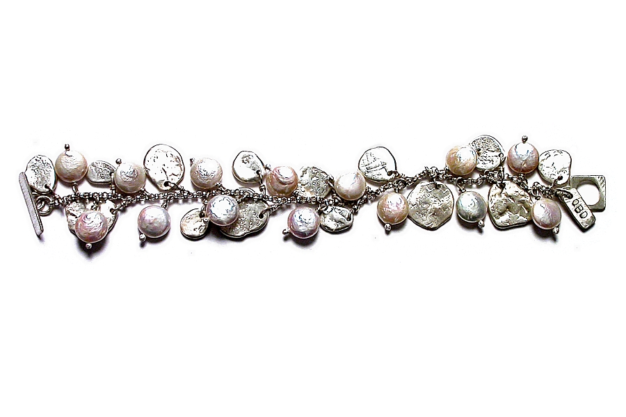 coin pearl & silver disc charm bracelet   $320.00   item 03-082