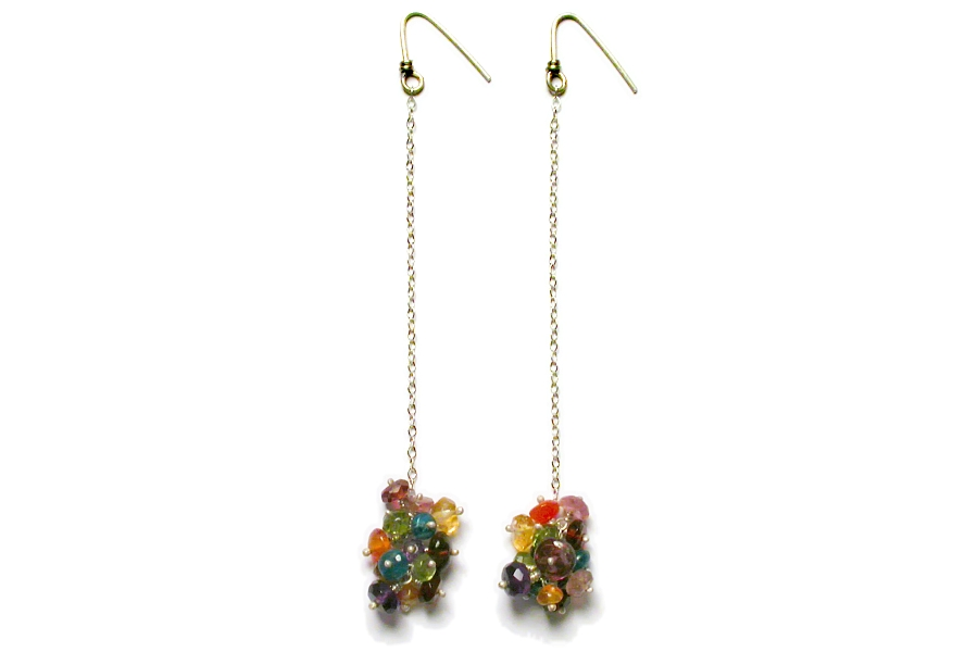 multicolour cluster earrings on silver chain   $120.00   item 04-005
