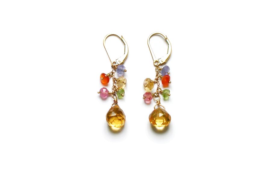 multicolour dangle earrings on gold with citrine briolettes   $95.00   item 04-006