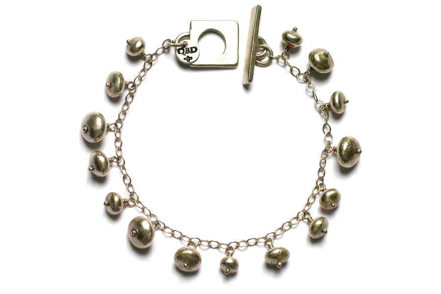 silver nugget dangle bracelet   $240.00   item 04-033