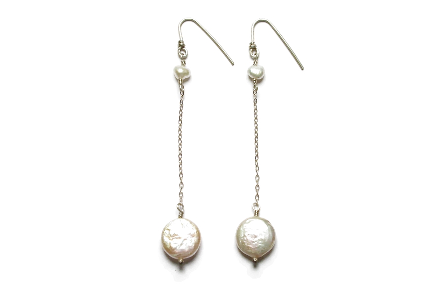 medium coin pearls on silver chain earrings   $65.00   item 04-052