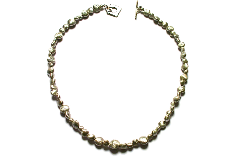 long-drilled silver nugget neckpiece   $695.00   item 04-068