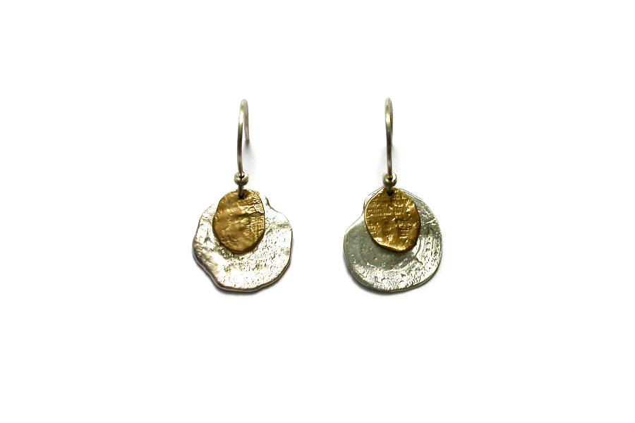 gold & silver double disc earrings   $210.00   item 04-164