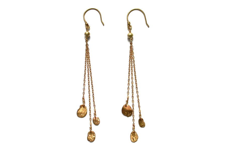 gold mini-disc triple chain earrings   $160.00   item 04-171