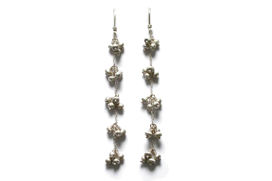 silver mini-nugget 'bunches' earrings   $180.00   item 04-452