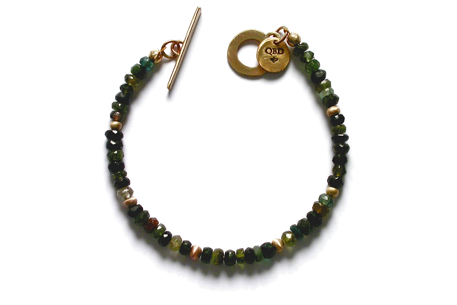 gold mini-nugget and green tourmaline bracelet   $250.00   item 04-461