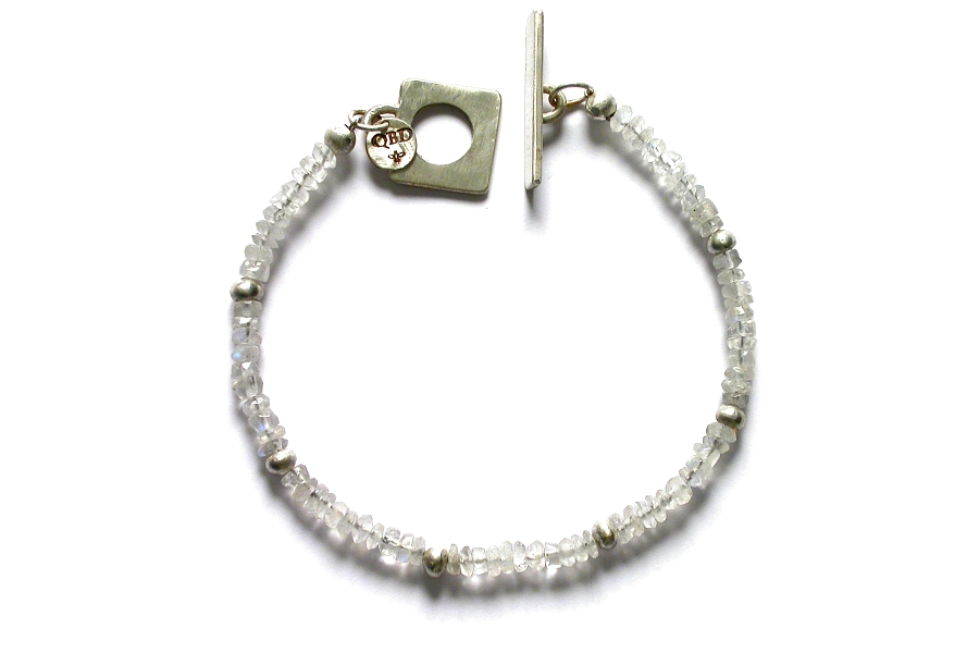 silver mini-nugget and rainbow moonstone bracelet   $120.00   item 04-462