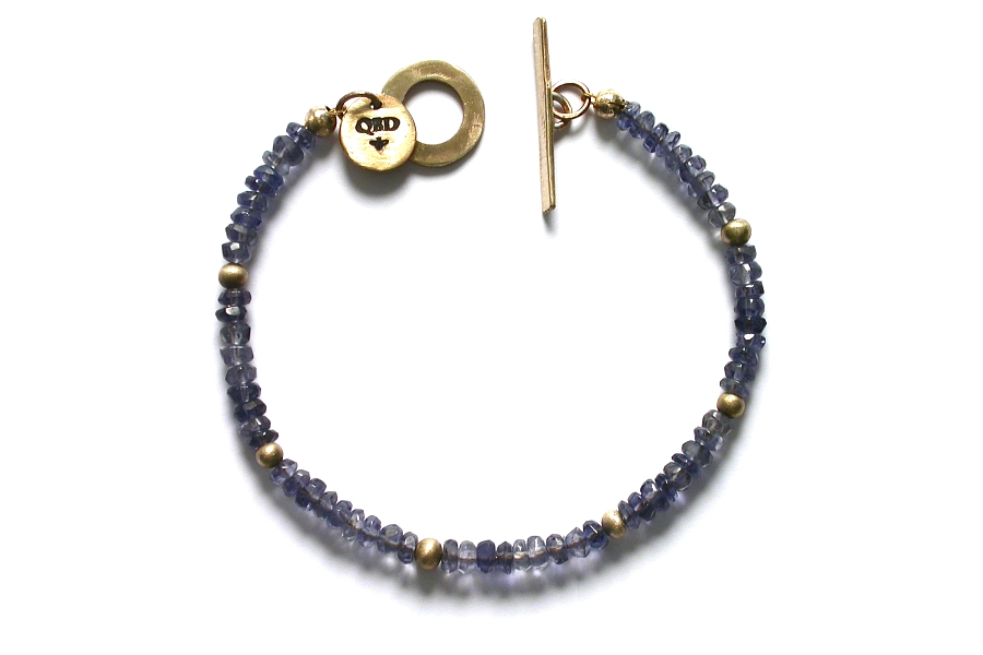 gold mini-nugget and iolite bracelet   $250.00   item 04-463