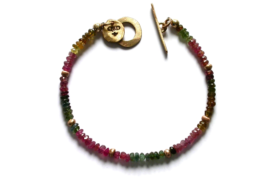 gold mini-nugget and mixed tourmaline bracelet   $250.00   item 04-470