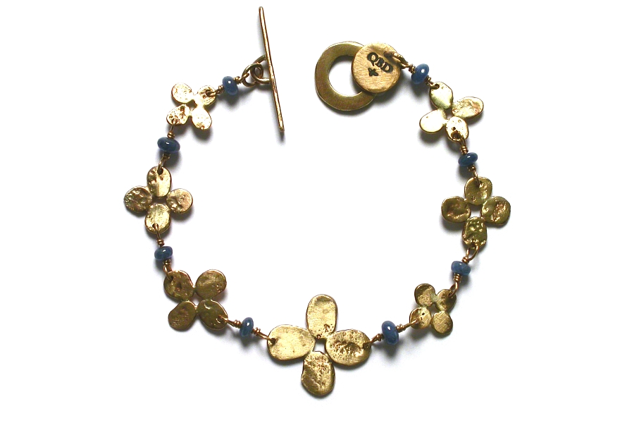 gold bloom and sapphire bracelet   $595.00   item 04-489