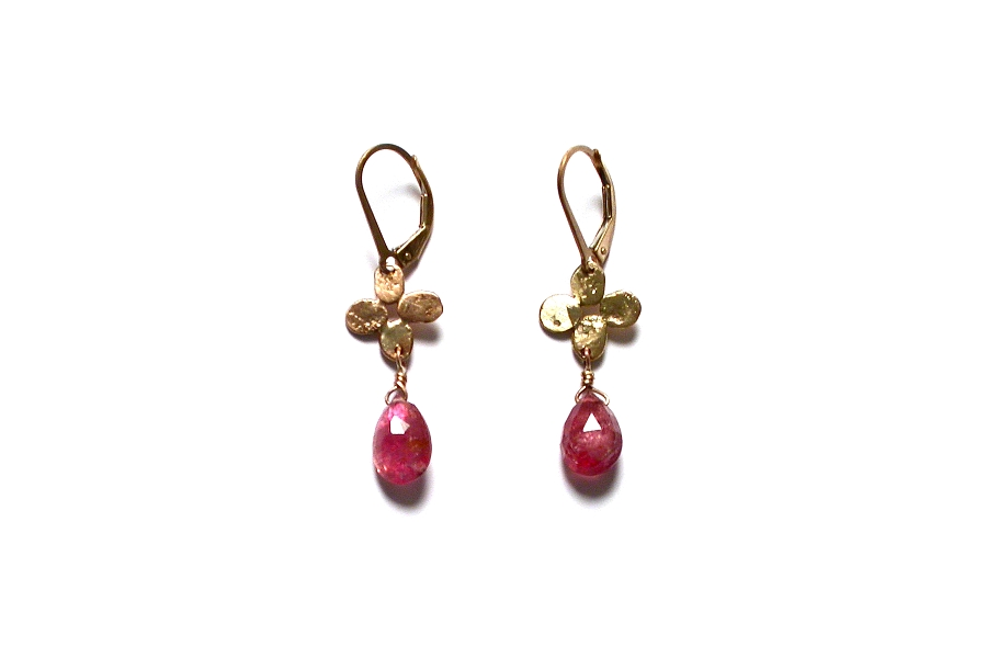 gold bloom & pink tourmaline briolette earrings   $180.00   item 04-497