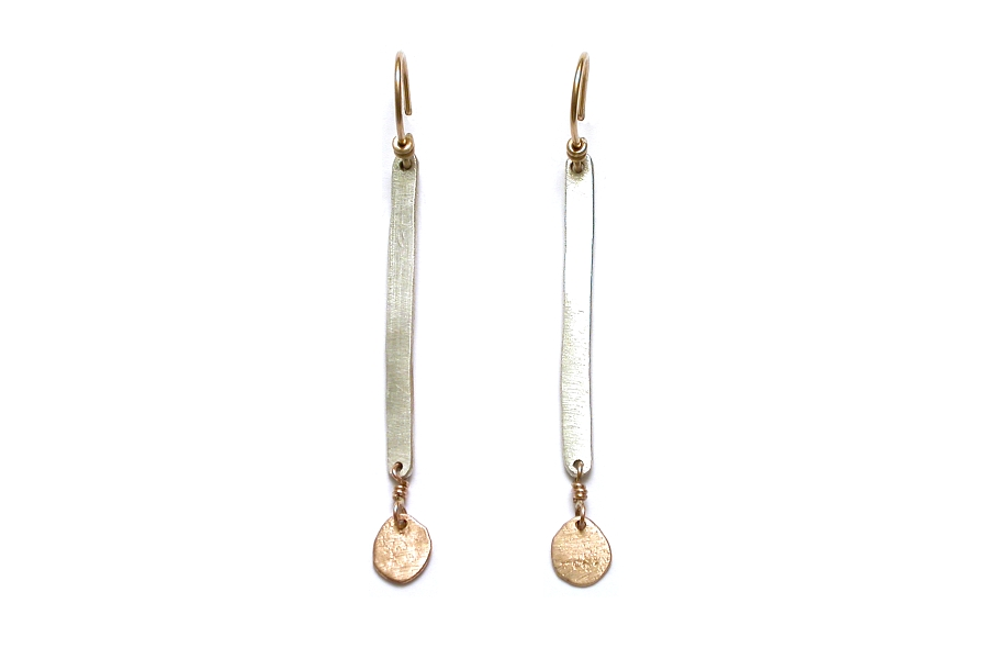 silver stick & gold mini-disc earrings   $110.00   item 05-003
