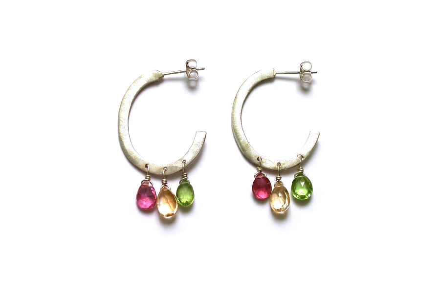 silver oval hoops with pink tourmaline, citrine & peridot briolettes   $195.00   item 05-018