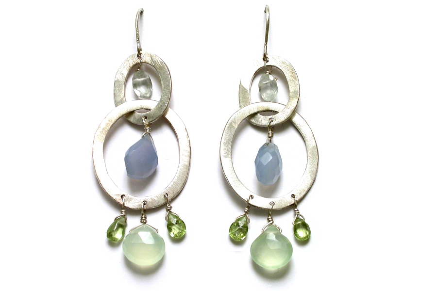 silver oval, prehnite, chalcedony & peridot link earrings   $275.00   item 05-034