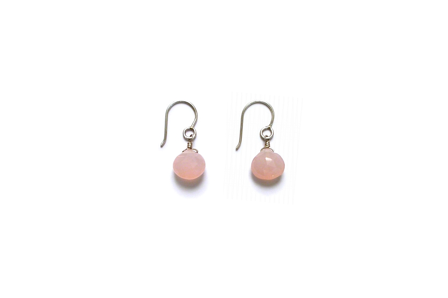 pink chalcedony briolette earrings   $40.00   item 05-068
