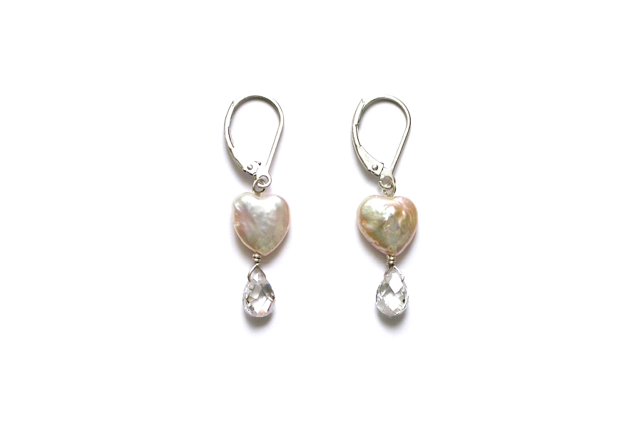 heart pearl & cubic zirconia briolette earrings   $95.00   item 05-103
