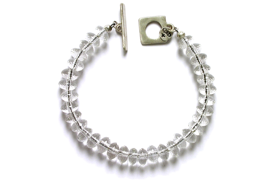 faceted rock crystal rondelle bracelet   $195.00   item 05-112