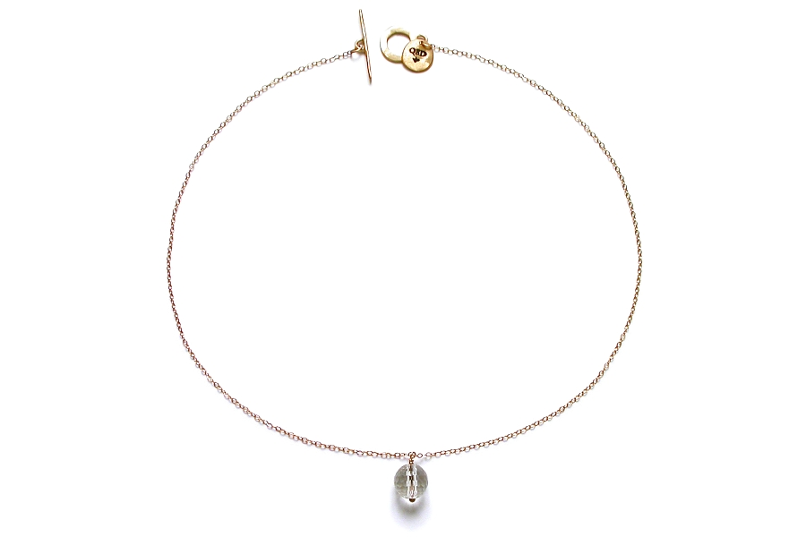 faceted rock crystal round on gold neckpiece   $110.00   item 05-116