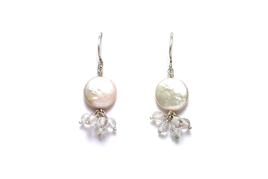 white coin pearl & faceted rock crystal earrings   $95.00   item 05-121