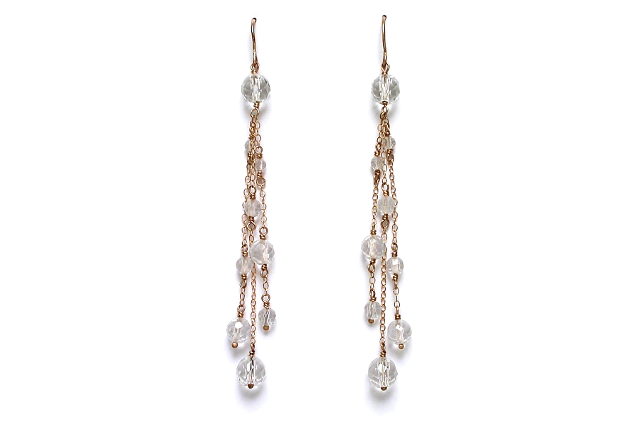 faceted rock crystal on gold cascade earrings   $260.00   item 05-123