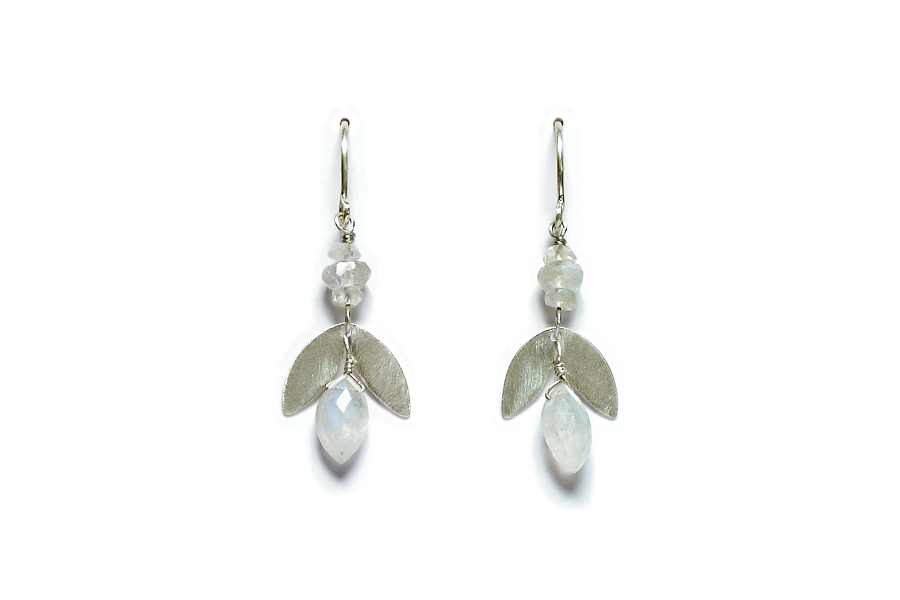 silver 'leaf' & moonstone earrings   $110.00   item 06-116