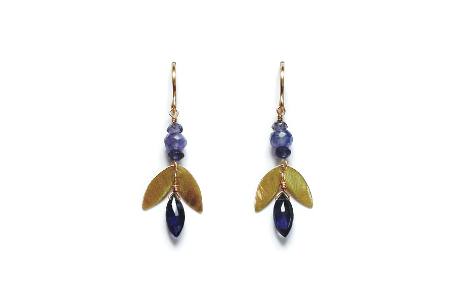 10K gold 'leaf', iolite & tanzanite earrings   $125.00   item 06-117