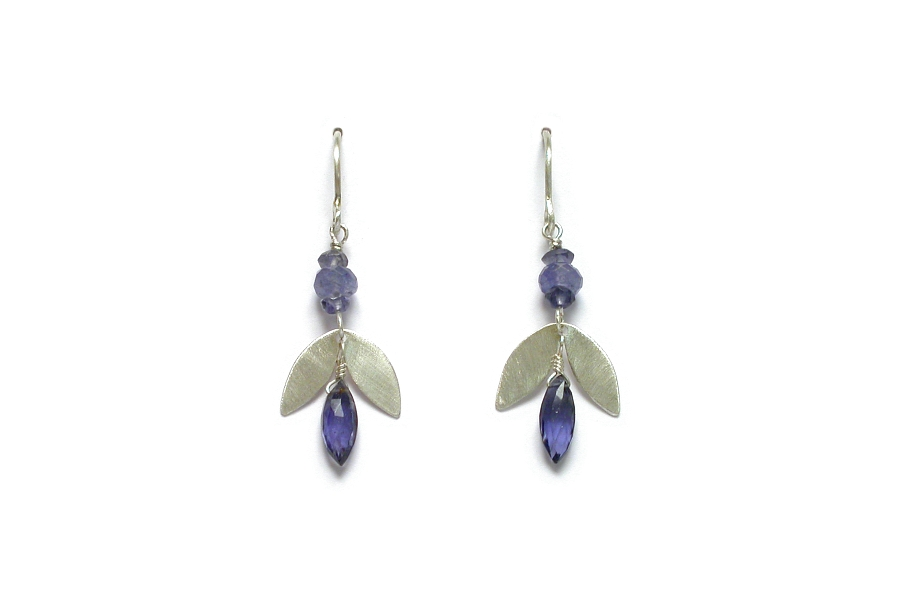 silver 'leaf', iolite & tanzanite earrings   $110.00   item 06-118