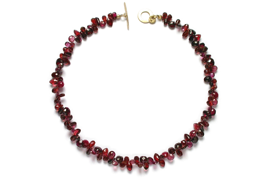 mixed garnet & ruby briolette neckpiece (with 10K gold clasp)   $350.00   item 06-127