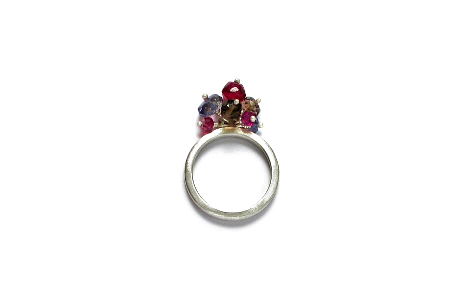 thin silver ring with garnet, iolite & smoky quartz cluster   $95.00   item 06-135