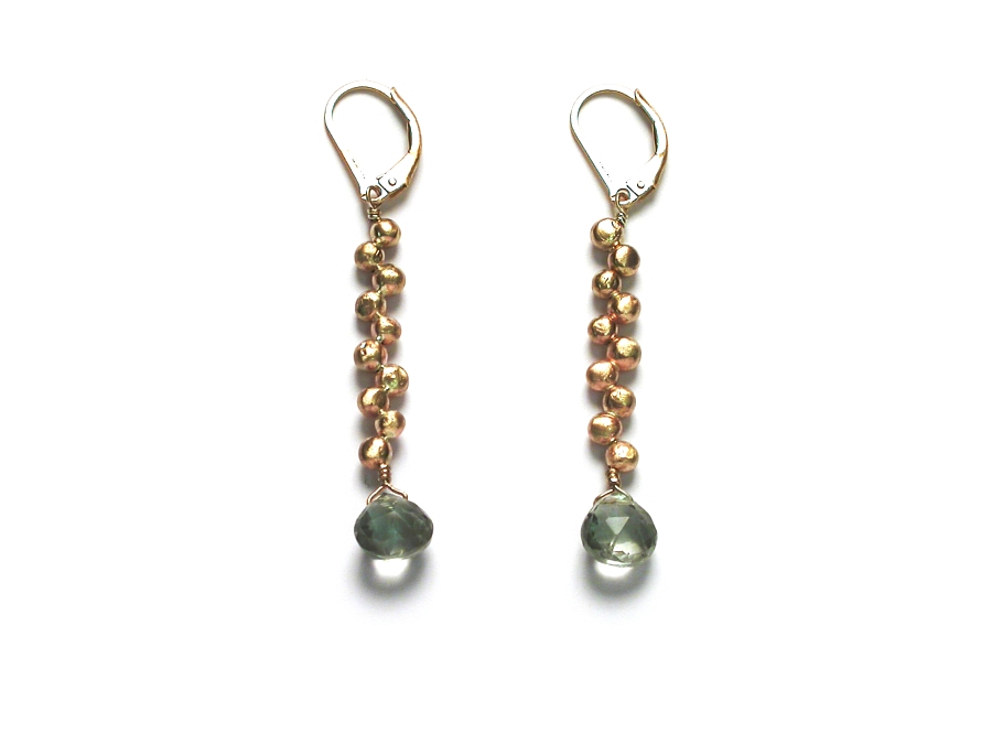 10K gold mini-nugget 'bubble' earrings with green amethyst   $375.00   item 06-205