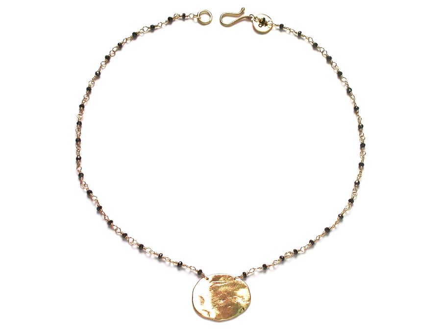 black cz & large 10K gold disc neckpiece   $425.00   item 06-210