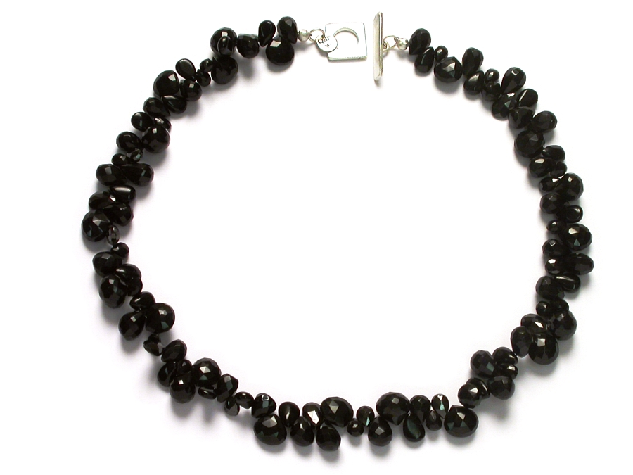 mixed onyx & black cz briolette neckpiece   $295.00   item 06-219
