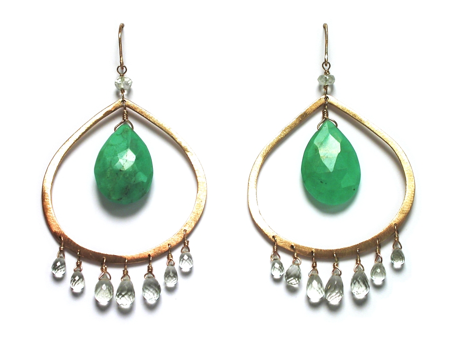 large hand-crafted 10K gold drop earrings with green amethyst & chrysophase   $395.00   item 07-102