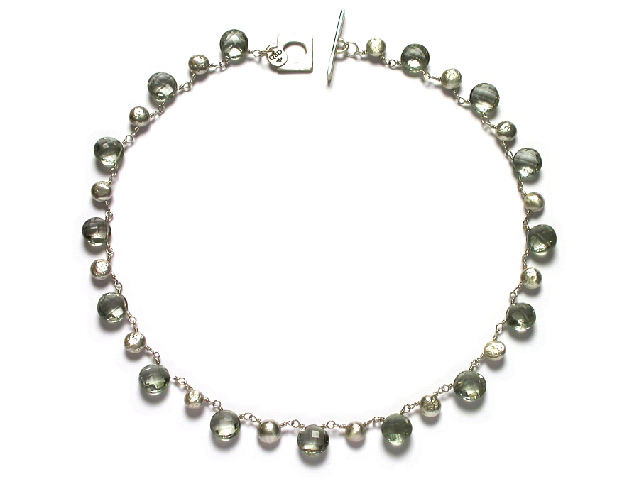 top-drilled silver nugget & green amethyst coin briolette neckpiece   $425.00   item 07-119