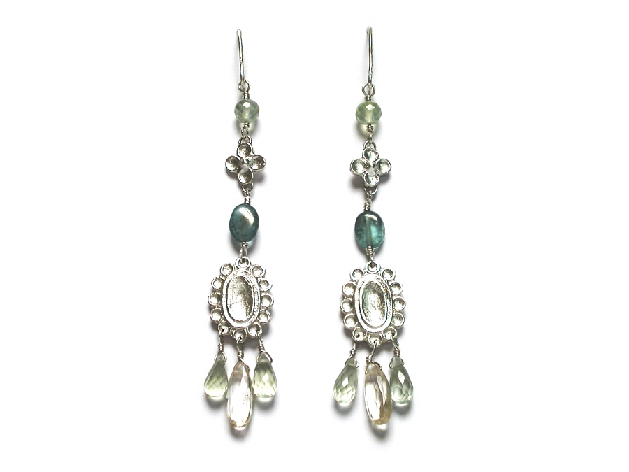silver indian charm, apatite, prehnite & scapolite dangle earrings   $260.00   item 07-128