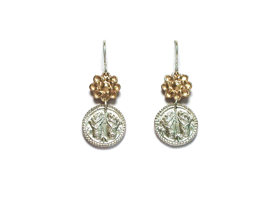 10K gold flower & silver buddha-feet indian charm earrings   $295.00   item 07-131