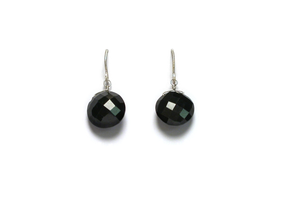 black spinel coin briolette earrings   $45.00   item 07-140