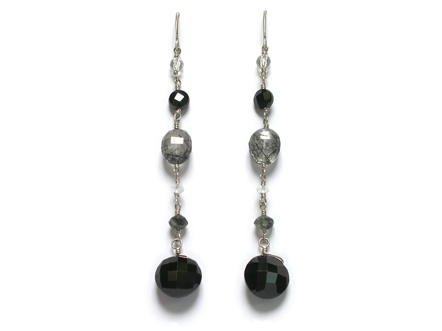 black spinel, rock crystal, tourmalated quartz, topaz & black cz earrings   $140.00   item 07-141