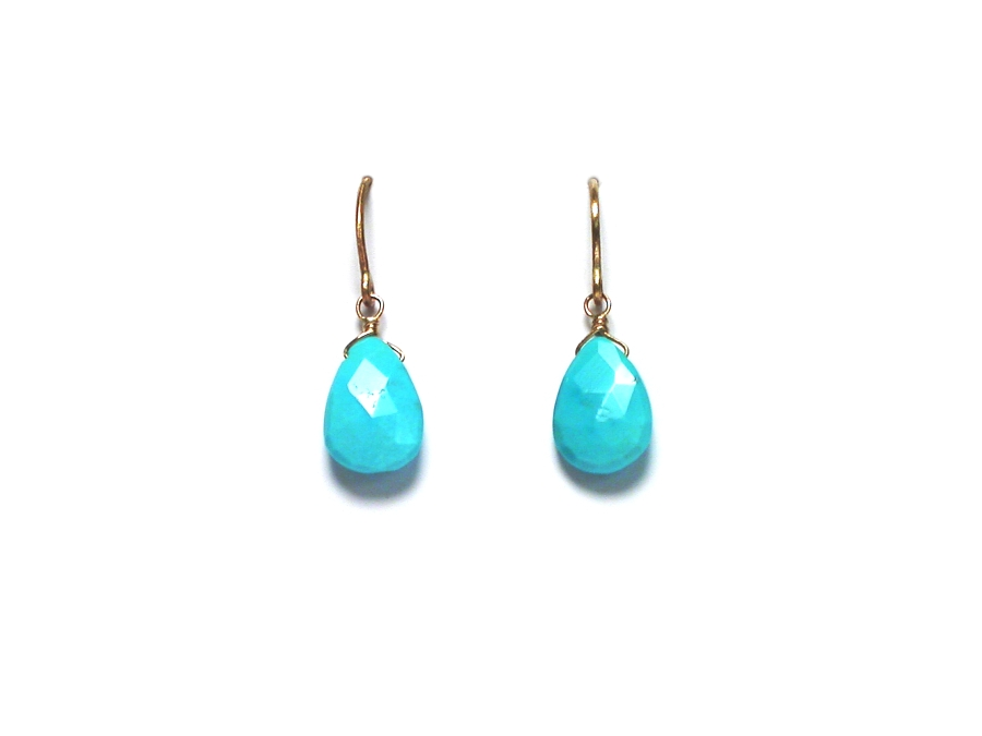 faceted turquoise briolettes on 14K gold filled hook earrings   $55.00   item 07-151