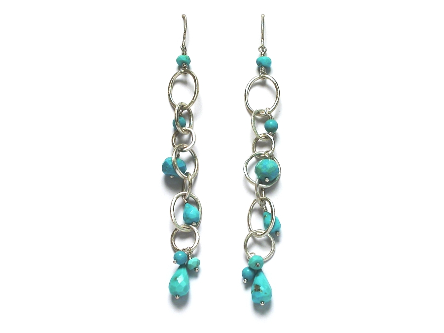 turquoise & silver link dangle earrings   $160.00   item 07-154
