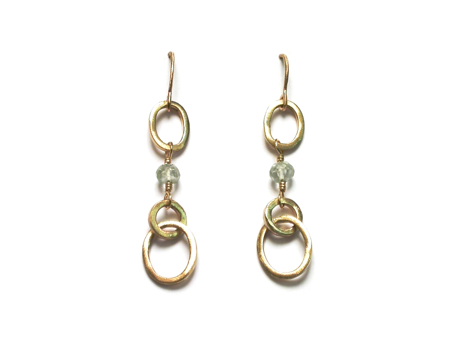 short gold link & green amethyst earrings   $210.00   item 07-158