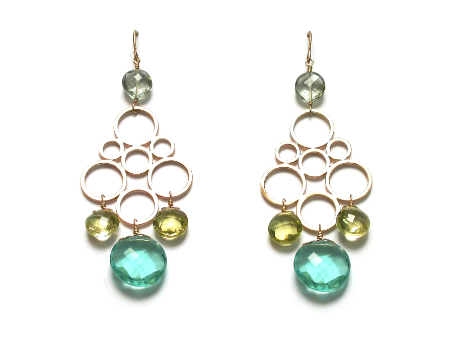 super-fancy 10K gold circle & green amethyst, lemon quartz & hydrothermal quartz drop earrings   $495.00   item 07-159