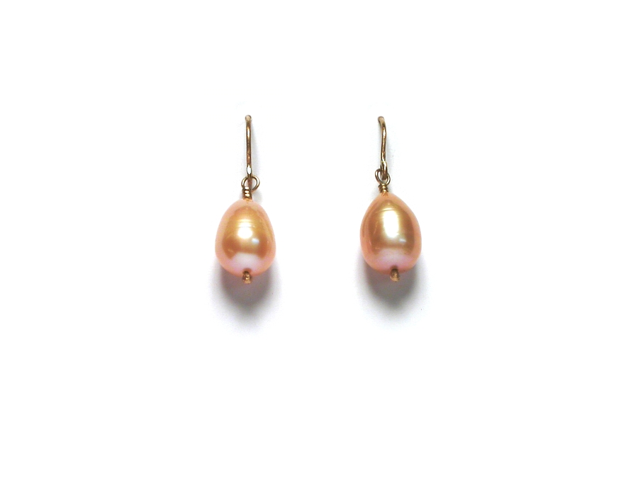 large peach fresh water pearl drops on 14K gold-filled hooks   $40.00   item 07-164
