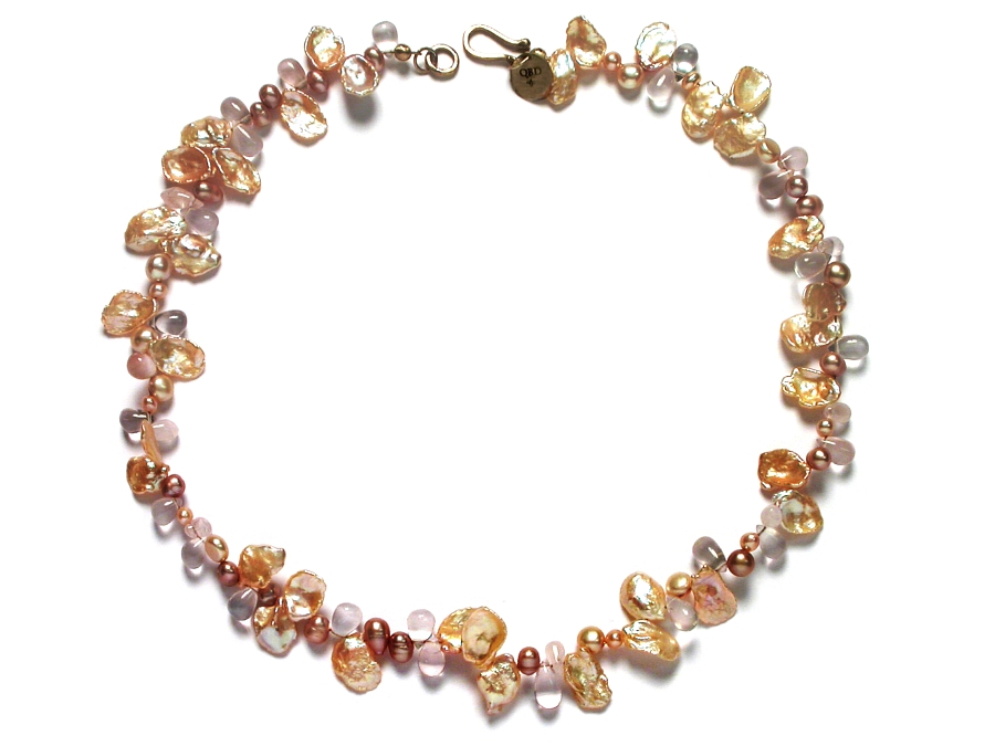 peach keishi pearl, freshwater pearl & rose quartz neckpiece with 10K glasp   $295.00   item 07-167