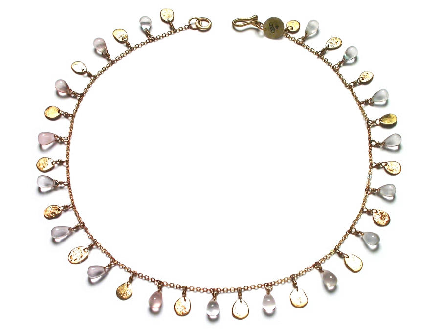 10K gold mini-disc & rose quarz briolette dangle neckpiece   $450.00   item 07-170