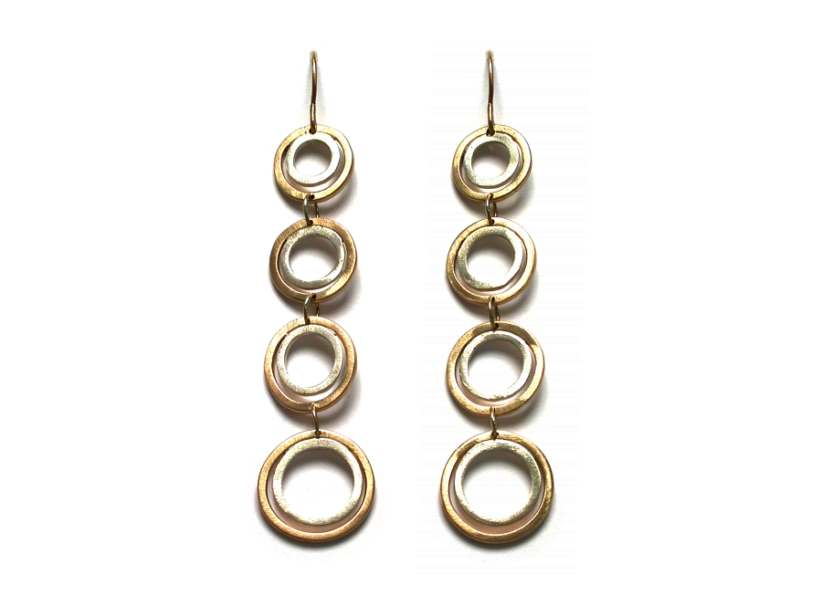 gold & silver 4 double link earrings   $395.00   item 07-200